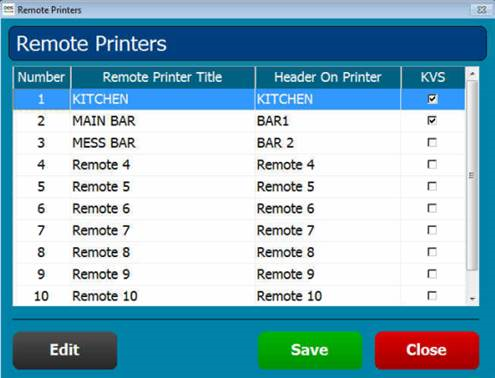 CES EPoS Software Kitchen Video System - Remote Printers Selection Screen