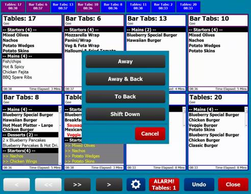 CES EPoS Software Kitchen Video System - TablesTabs Menu