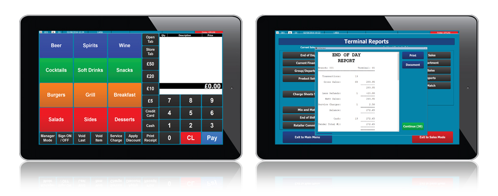 CES Touch EPoS System displayed on Tablet devices